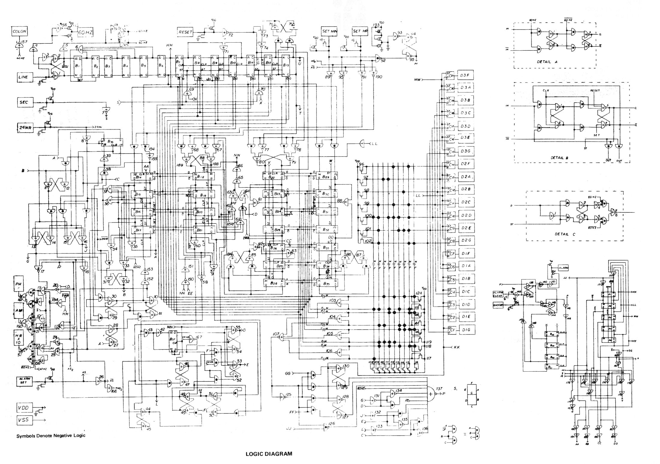 digital clock logic schematic
