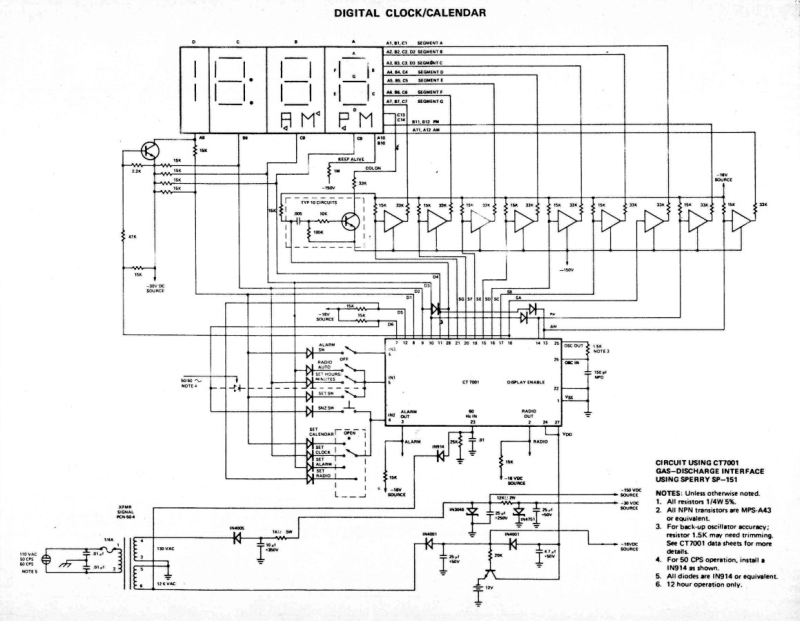 vintage digital clock circuits