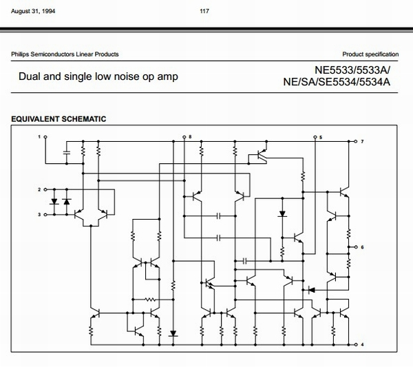 Philips NE5534 Schematic Error 1994.  The early Signetics and Philips schematics were right.  I had to send ON a copy...
